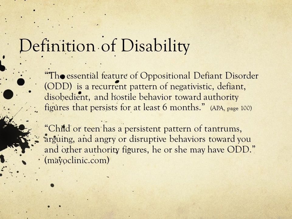 Oppositional Defiant Disorder Presented By Pam Aguilar Ppt Download