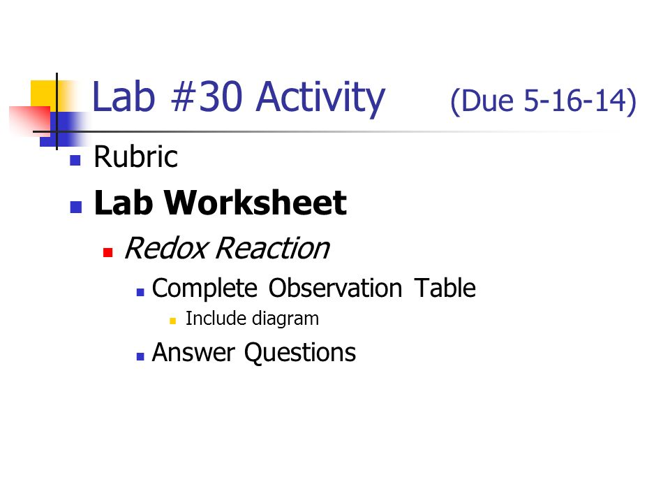 Lab 30 Activity Due Rubric Worksheet Redox Reaction Plete. 1 Lab 30 Activity Due 51614 Rubric Worksheet Redox Reaction Plete Observation Table Include Diagram Answer Questions. Worksheet. Worksheet Reaction Rates Chemistry A Study Of Matter Answers At Mspartners.co