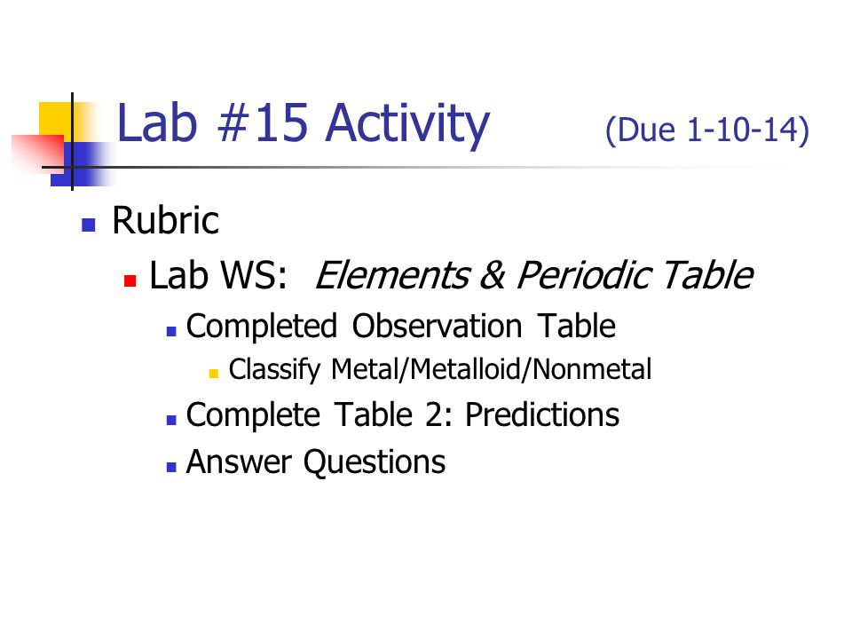 Lab 30 activity due rubric lab worksheet redox reaction complete 14 lab 15 activity due 1 10 14 rubric lab ws elements periodic table completed observation table classify metalmetalloidnonmetal complete table 2 urtaz Images