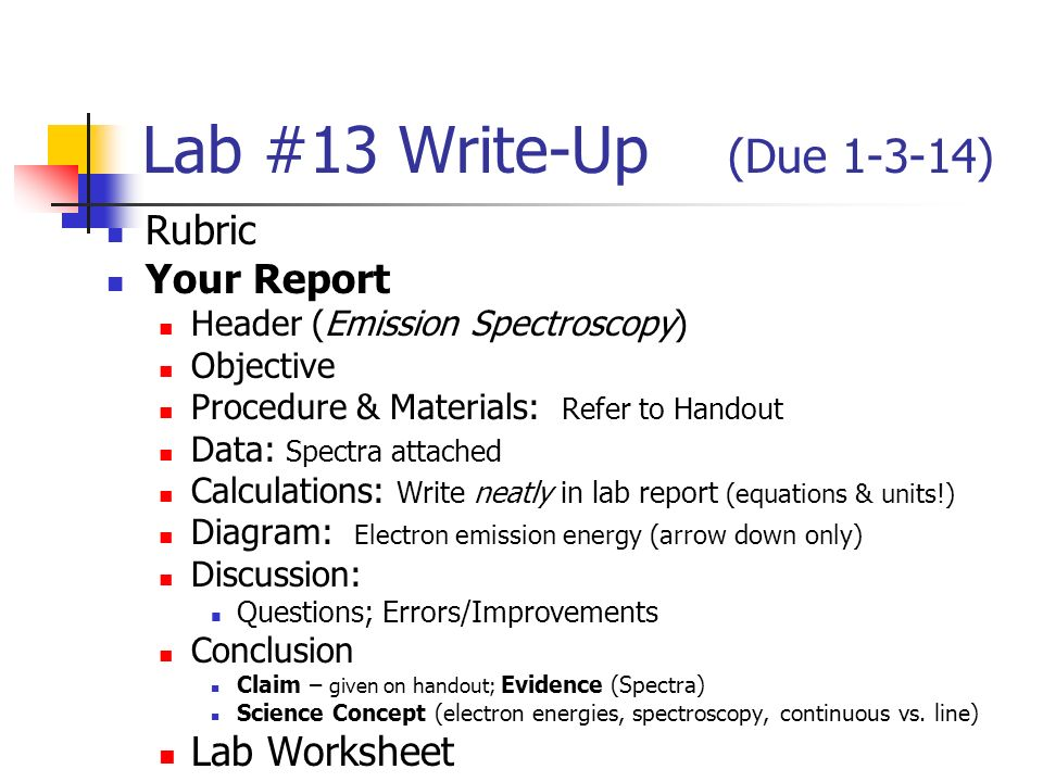Lab 30 activity due rubric lab worksheet redox reaction complete lab 13 write up due rubric your report header emission spectroscopy ccuart Gallery