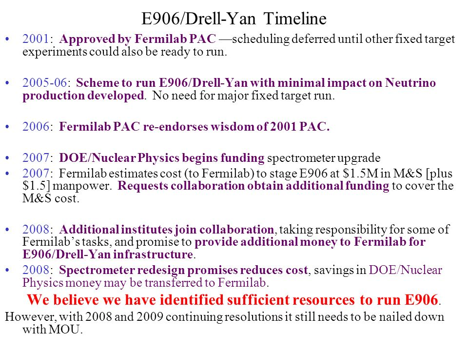 E906/Drell-Yan Timeline 2001: Approved by Fermilab PAC —scheduling deferred until other fixed target experiments could also be ready to run.