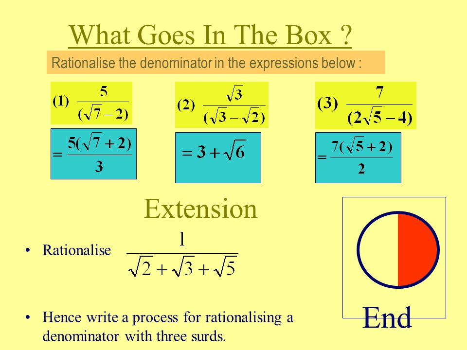 What Goes In The Box Rationalise The Denominator Of The Following