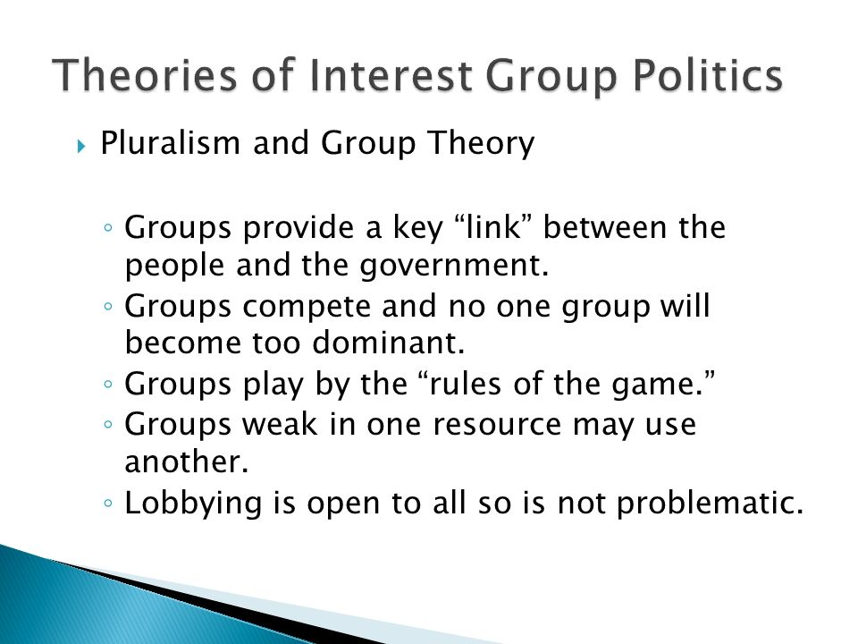  Pluralism and Group Theory ◦ Groups provide a key link between the people and the government.