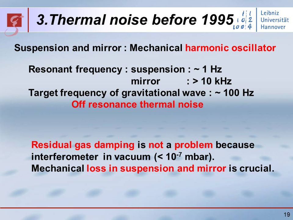19 Resonant frequency : suspension : ~ 1 Hz mirror : > 10 kHz Target frequency of gravitational wave : ~ 100 Hz Off resonance thermal noise 3.Thermal noise before 1995 Suspension and mirror : Mechanical harmonic oscillator Residual gas damping is not a problem because interferometer in vacuum (< 10 -7 mbar).
