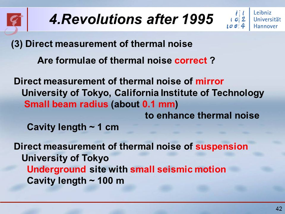 42 (3) Direct measurement of thermal noise 4.Revolutions after 1995 Are formulae of thermal noise correct .