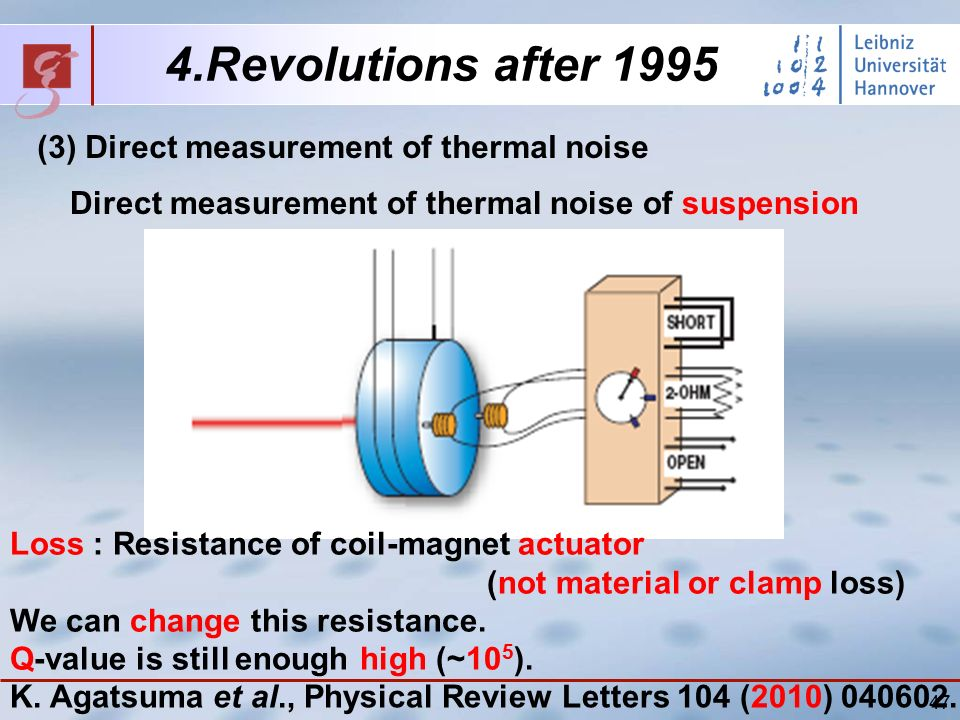 47 4.Revolutions after 1995 (3) Direct measurement of thermal noise Direct measurement of thermal noise of suspension Loss : Resistance of coil-magnet actuator (not material or clamp loss) We can change this resistance.