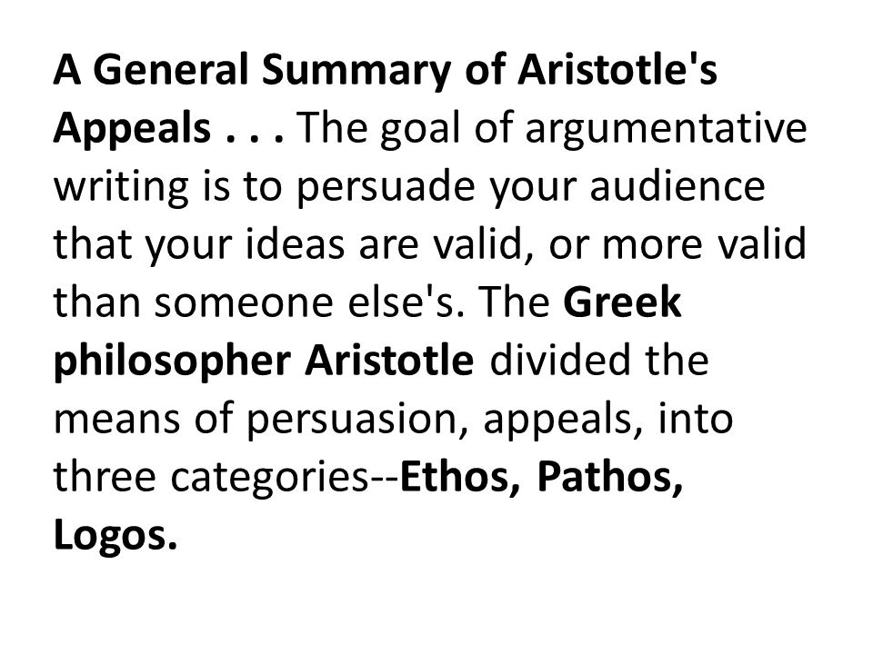 A General Summary of Aristotle s Appeals...