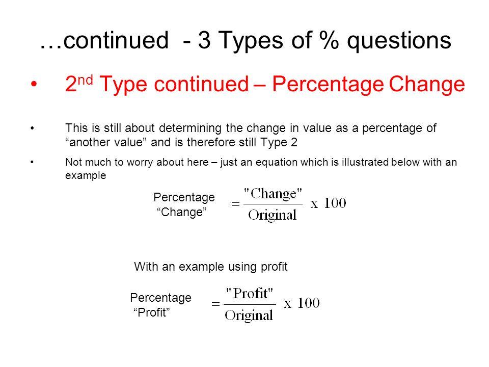 "Percentages  1 st Type FIND ""some"" % OF ""something else"