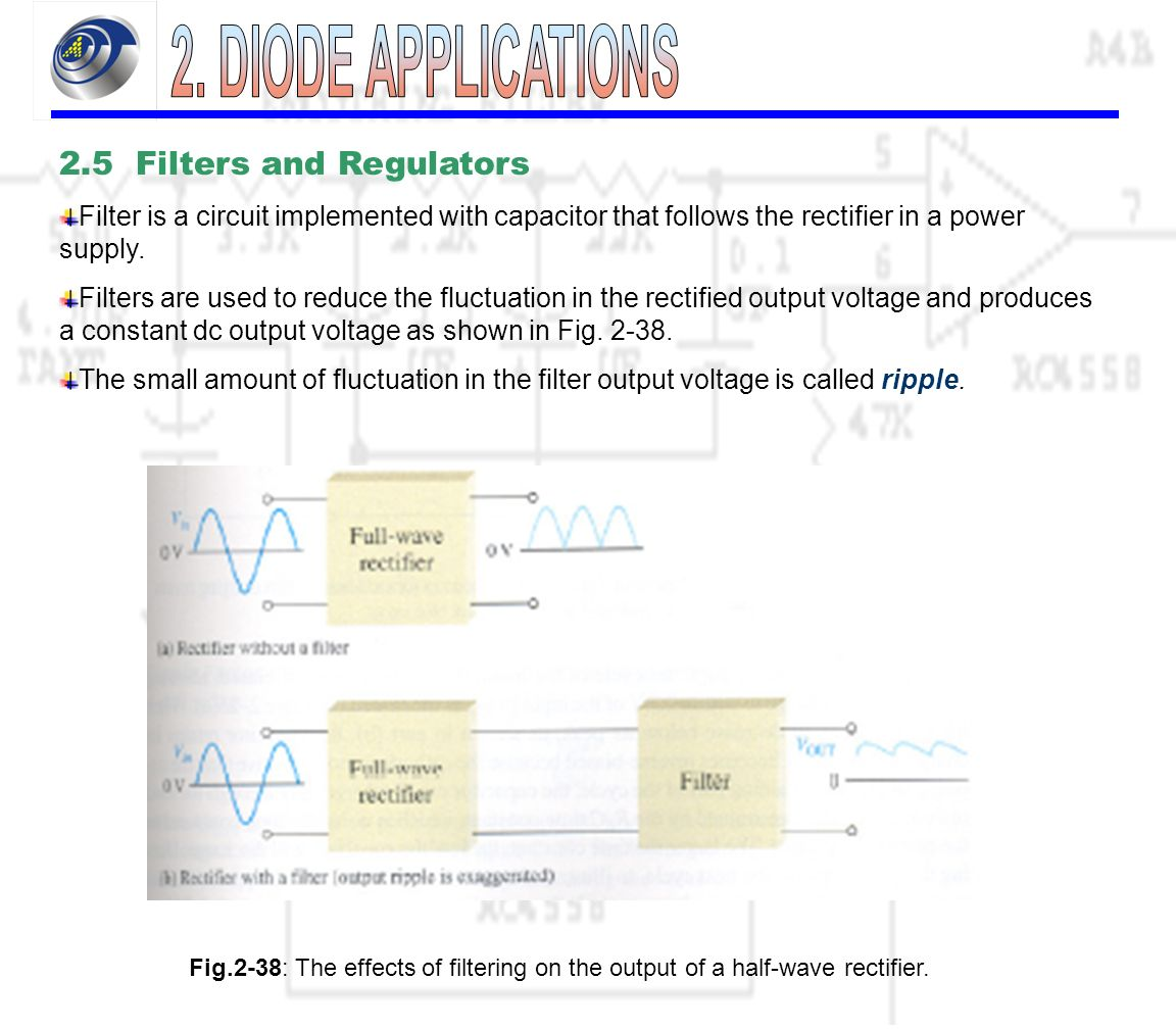 21 Power Supply Is A Group Of Circuits That Convert Voltage Divider Circuit Produces An Output 25 Filters And Regulators Filter Implemented With Capacitor Follows The Rectifier In 33 Amount Ripple