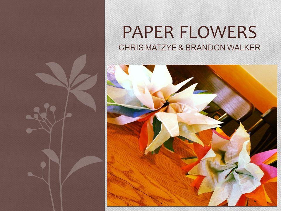 PAPER FLOWERS CHRIS MATZYE BRANDON WALKER Supplies Needed