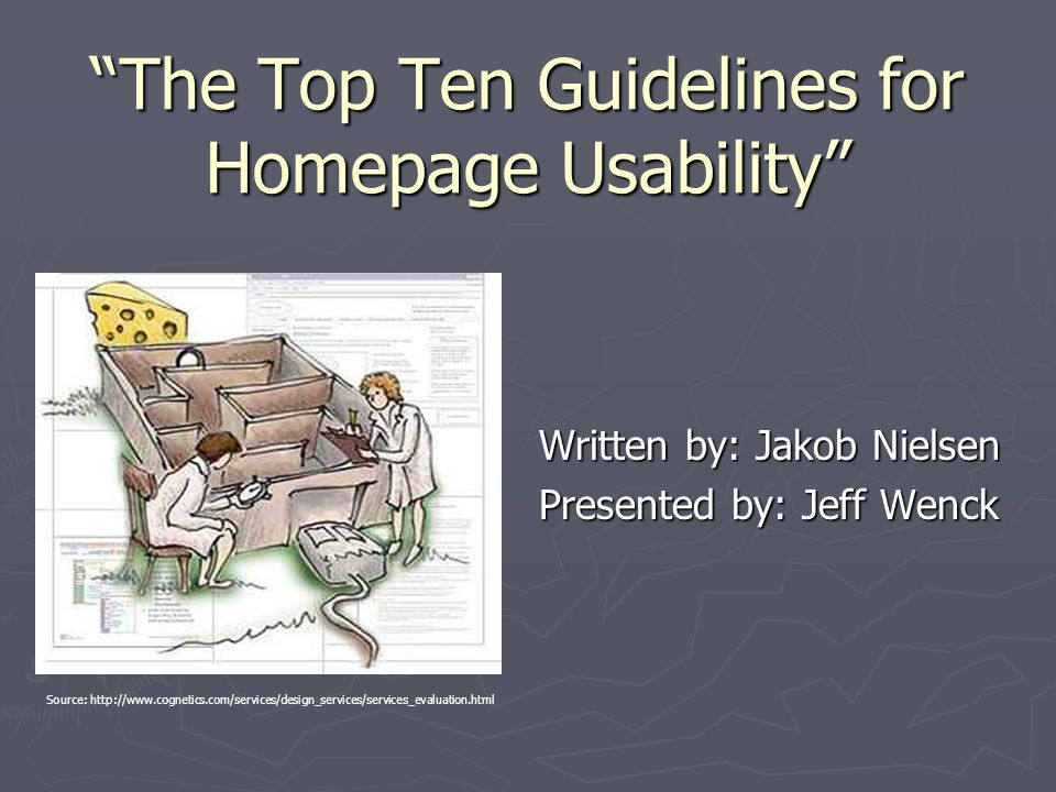 the top ten guidelines for homepage usability u201d written by jakob rh slideplayer com