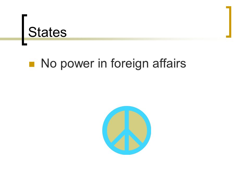 States No power in foreign affairs