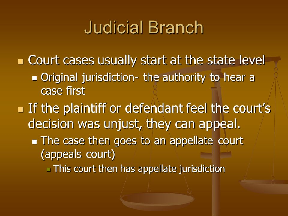 Judicial Branch Court cases usually start at the state level Court cases usually start at the state level Original jurisdiction- the authority to hear a case first Original jurisdiction- the authority to hear a case first If the plaintiff or defendant feel the court's decision was unjust, they can appeal.