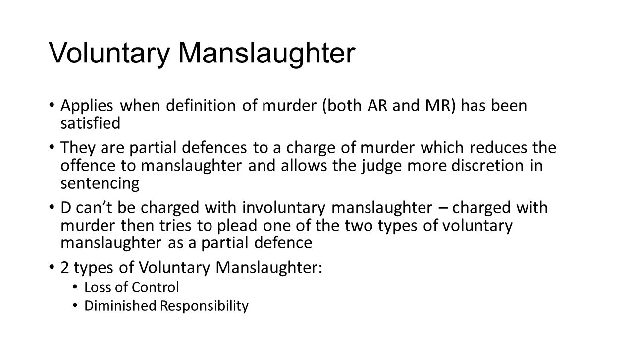 fatal offences – voluntary manslaughter – loss of control. - ppt
