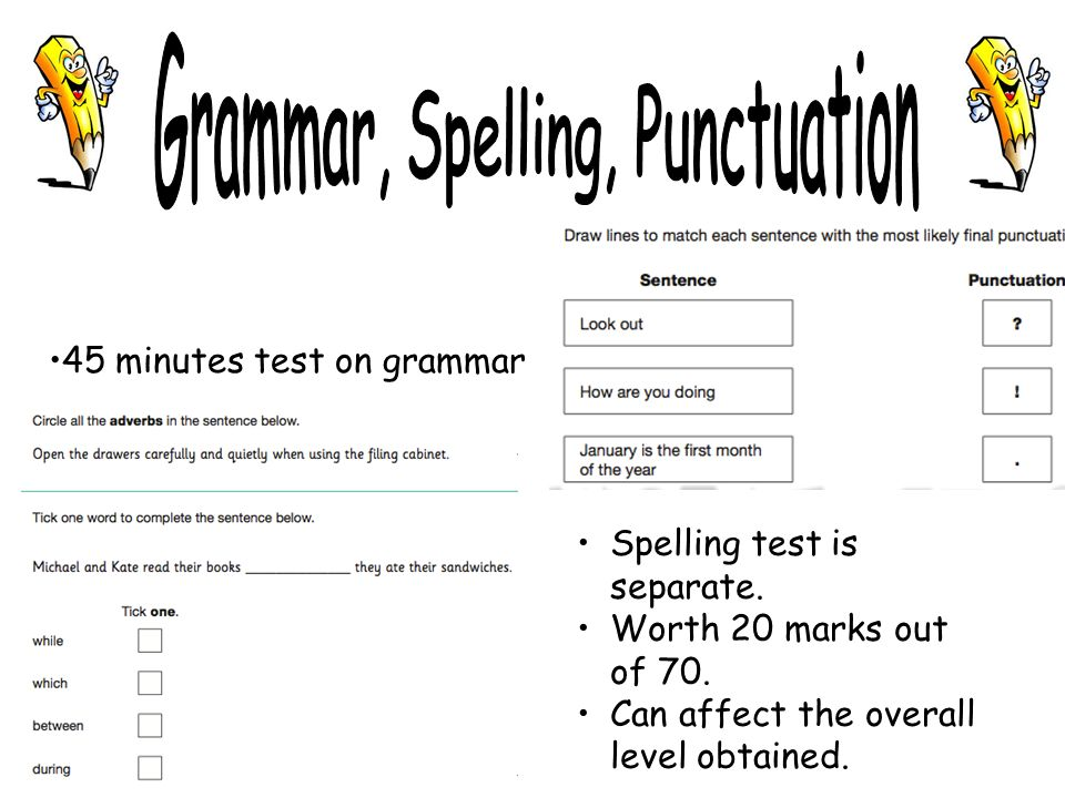 45 minutes test on grammar Spelling test is separate.