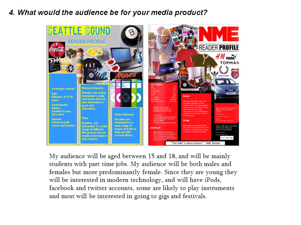4. What would the audience be for your media product.