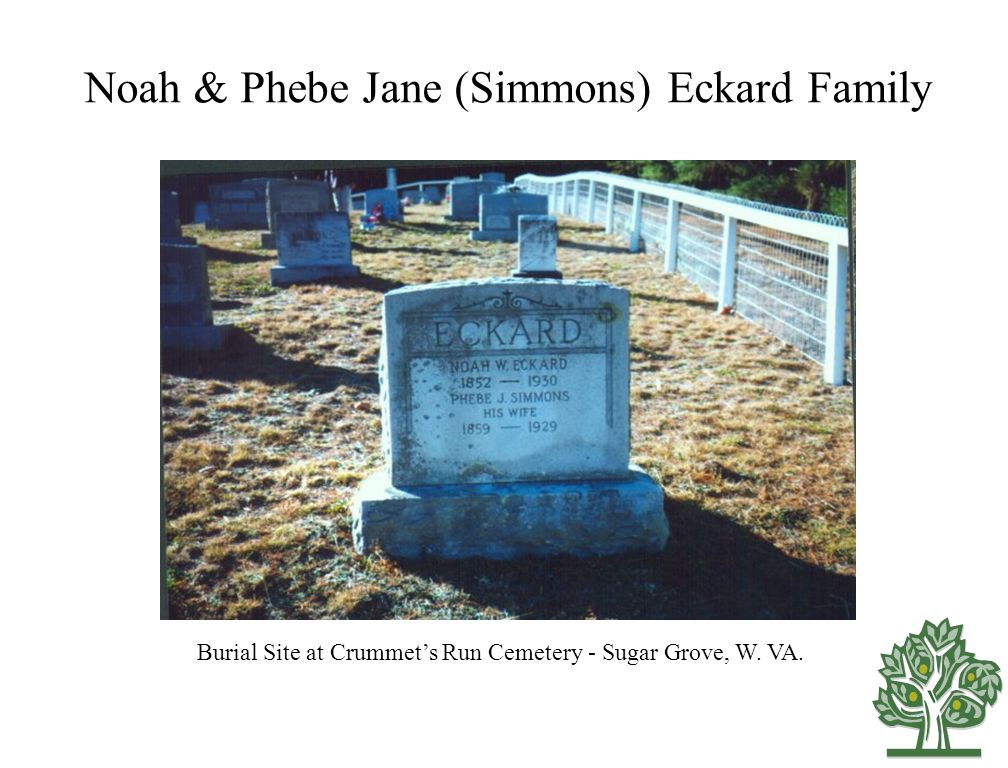 Noah & Phebe Jane (Simmons) Eckard Family Burial Site at Crummet's Run Cemetery - Sugar Grove, W.