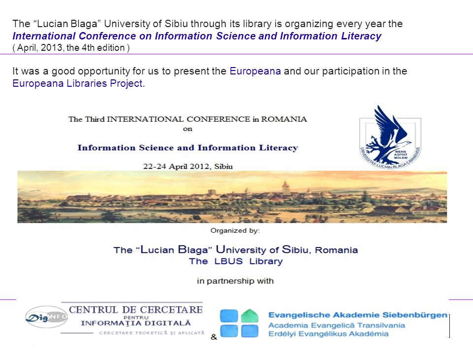 """The Europeana Libraries project and the """"Lucian Blaga"""" University of"""