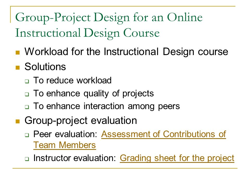 Group Project Design For An Online Course