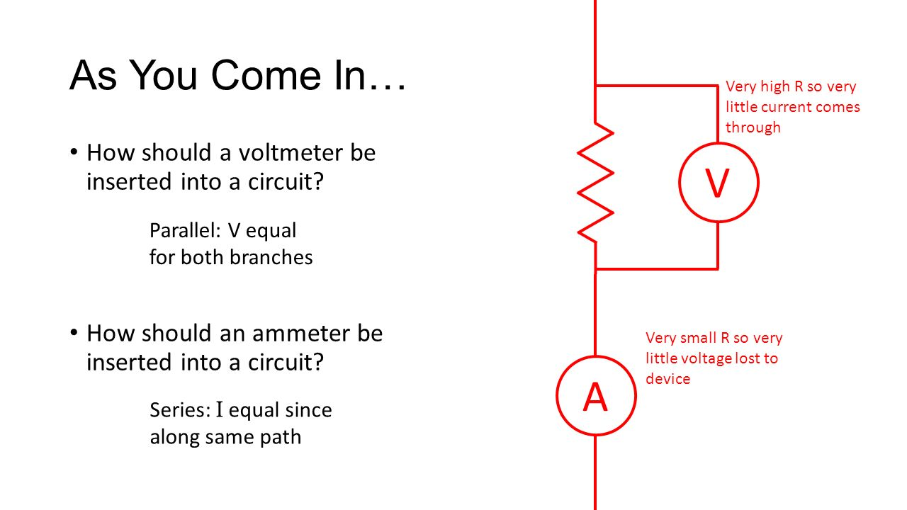 Parts Of An Electric Circuit Recall A Is Closed Path Diagram With Voltmeter As You Come In How Should Be Inserted Into