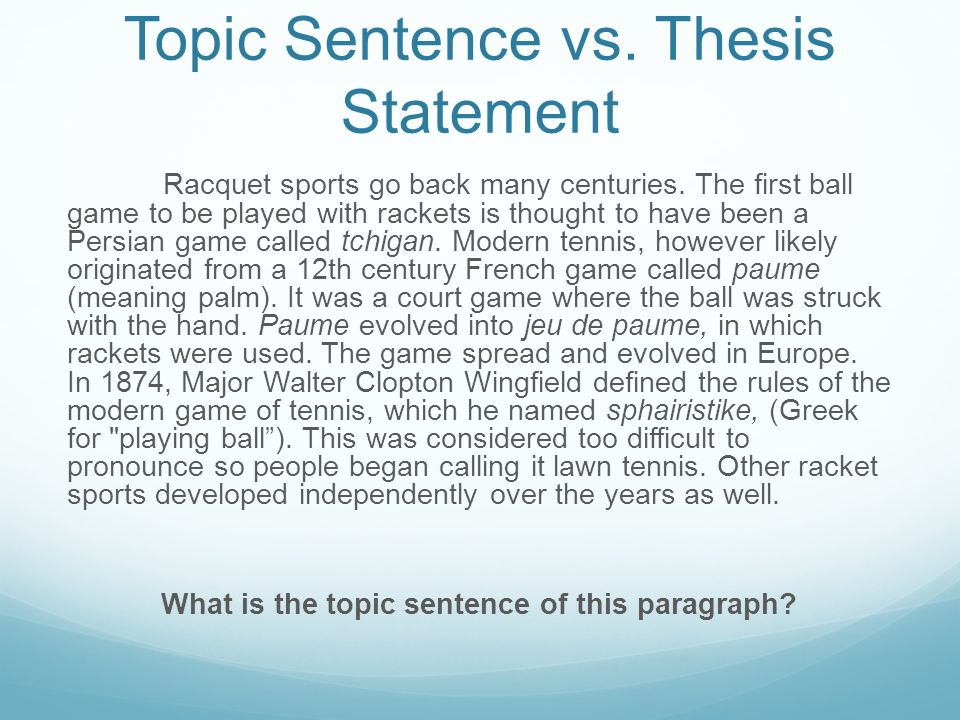 thesis statement topic sentence vs thesis statement racquet sports  topic sentence vs thesis statement racquet sports go back many centuries