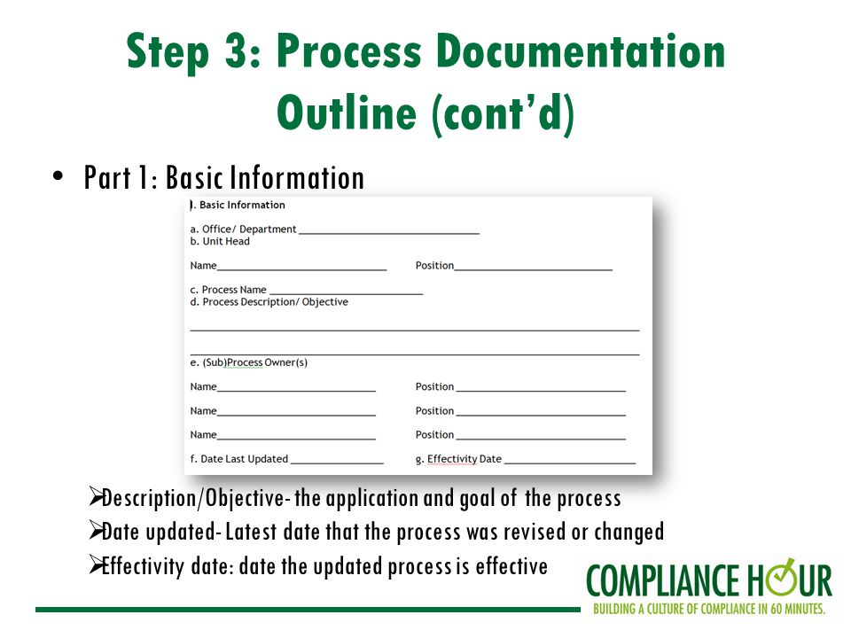 ON CONDUCT OF SCHOOLS Overview Of The Documentation Procedure Step - It process documentation