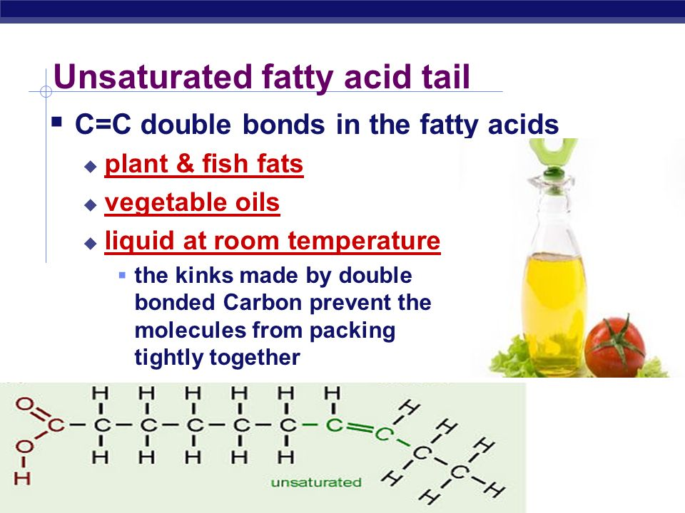 AP Biology Saturated fatty acids  All Carbon bonded to Hydrogen  No C=C double bonds  long, straight chain  most animal fats  solid at room temp.
