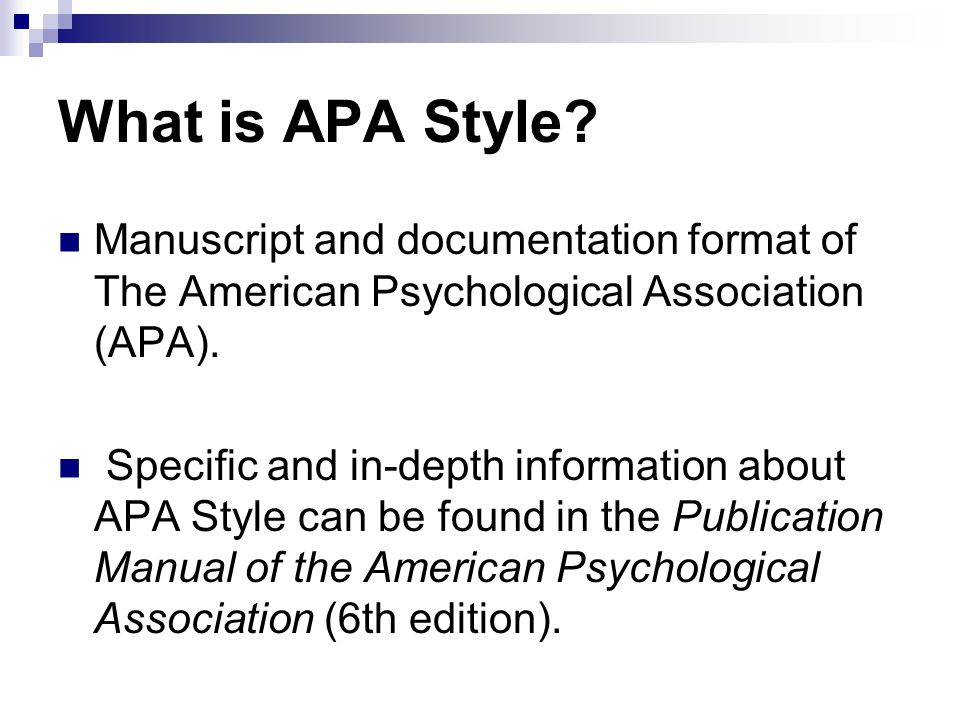 what is apa style manuscript and documentation format of the