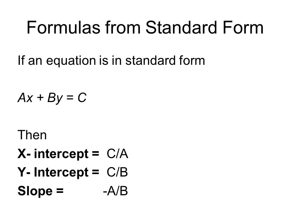 standard form x intercept  Drill #14* Find the x- and y– intercepts of the following ...