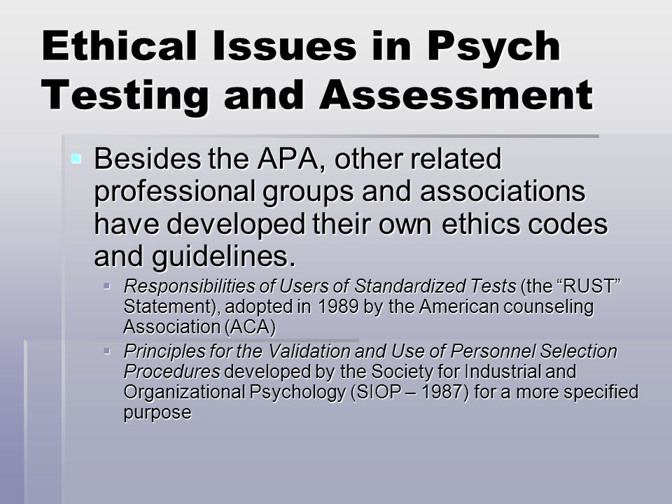 ethical issues in psychological testing