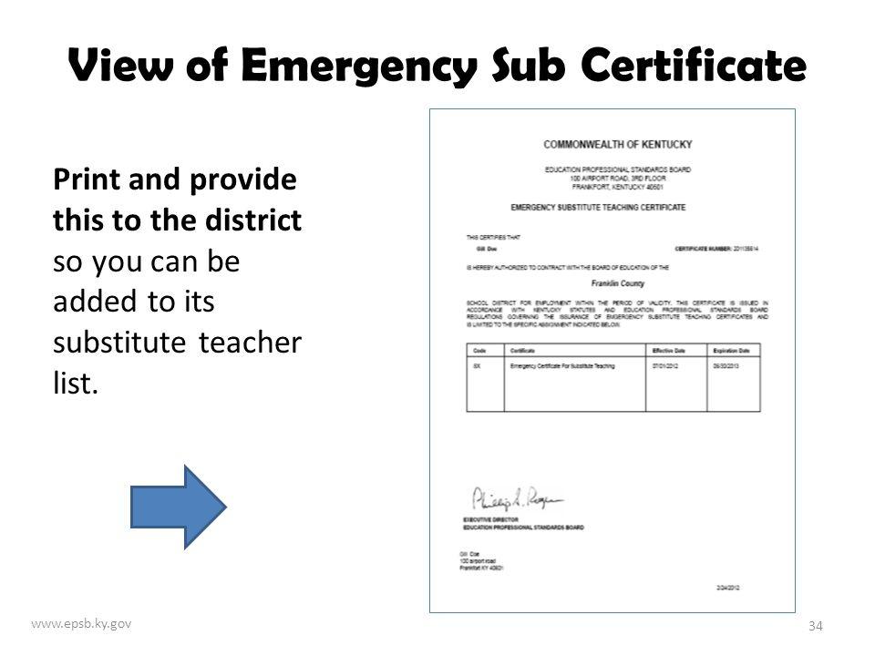 ky education professional standards board online emergency