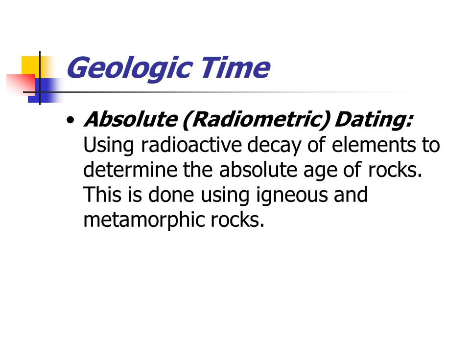 Radiometric dating definition geography