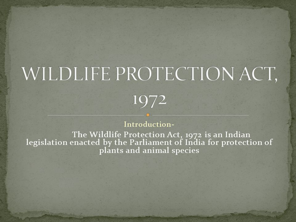 Introduction- The Wildlife Protection Act, 1972 is an Indian legislation enacted by the Parliament of India for protection of plants and animal species