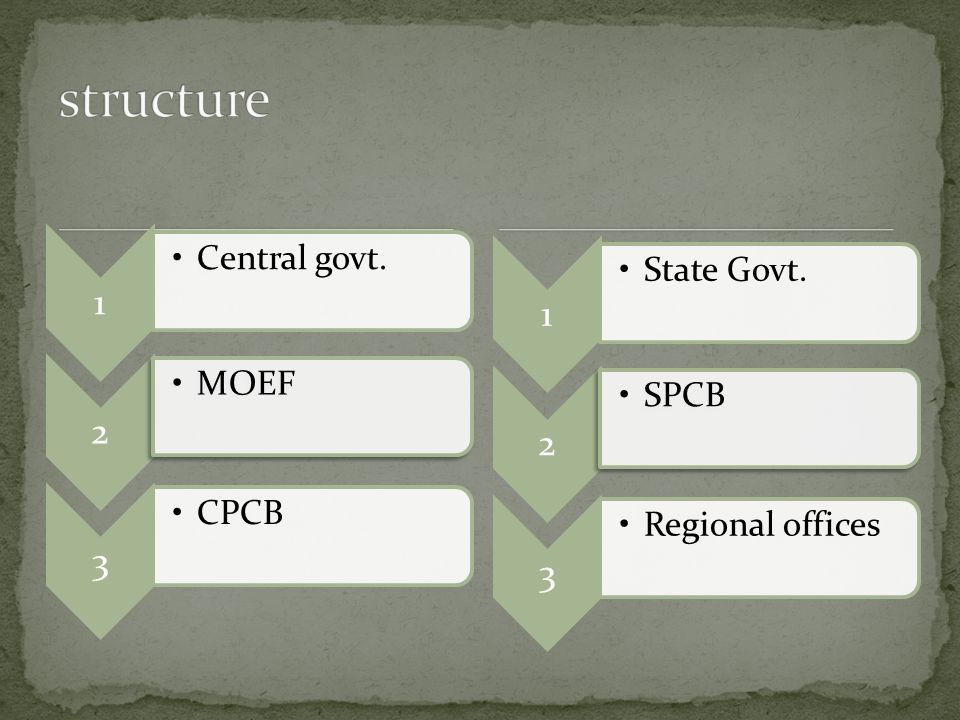 1 Central govt. 2 MOEF 3 CPCB 1 State Govt. 2 SPCB 3 Regional offices