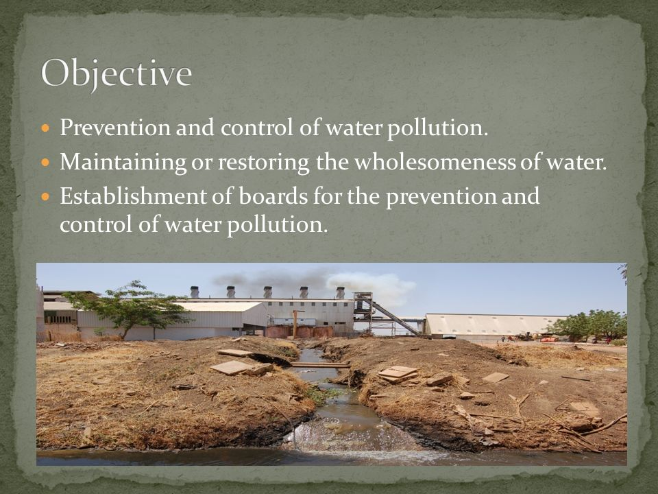 Prevention and control of water pollution. Maintaining or restoring the wholesomeness of water.