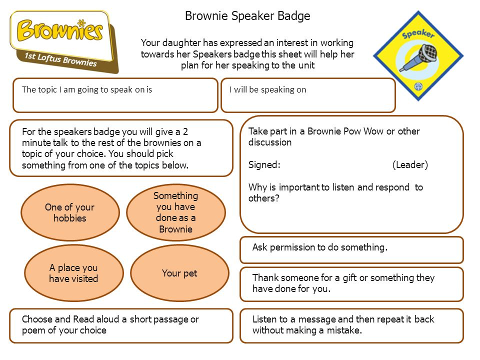 Brownie Collectors Badge Your daughter has expressed an