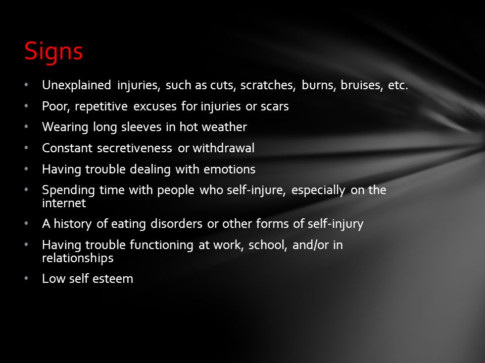 Excuses scar self harm How to