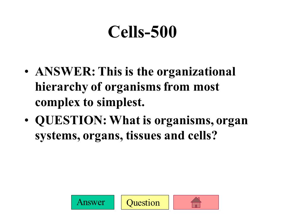 Question Answer Cells-400 ANSWER: All living things are made of cells is this theory.