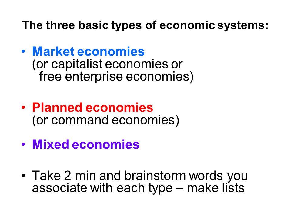 3 types of mixed economies