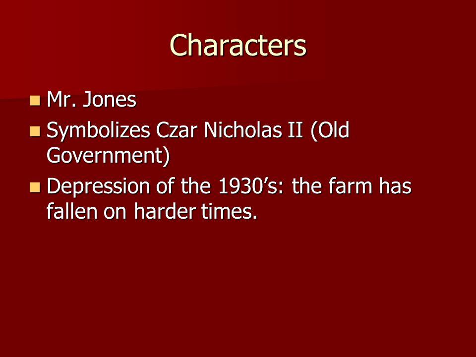 Animal Farm Characters Mr Jones Mr Jones Symbolizes Czar Nicholas