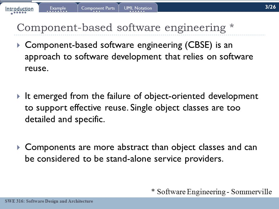 Swe 316 Software Design And Architecture Objectives Lecture 18 Introduction To Components Swe 316 Software Design And Architecture To Learn Benefits Ppt Download