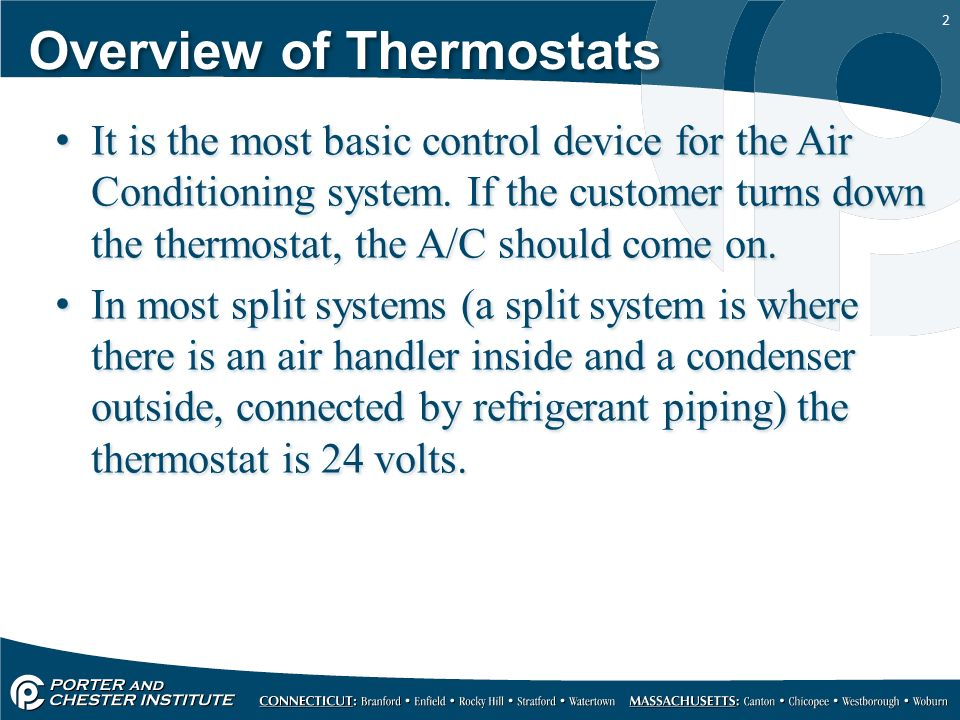 1 HVACR317 - Refrigeration Operating Controls 1 Thermostats ...