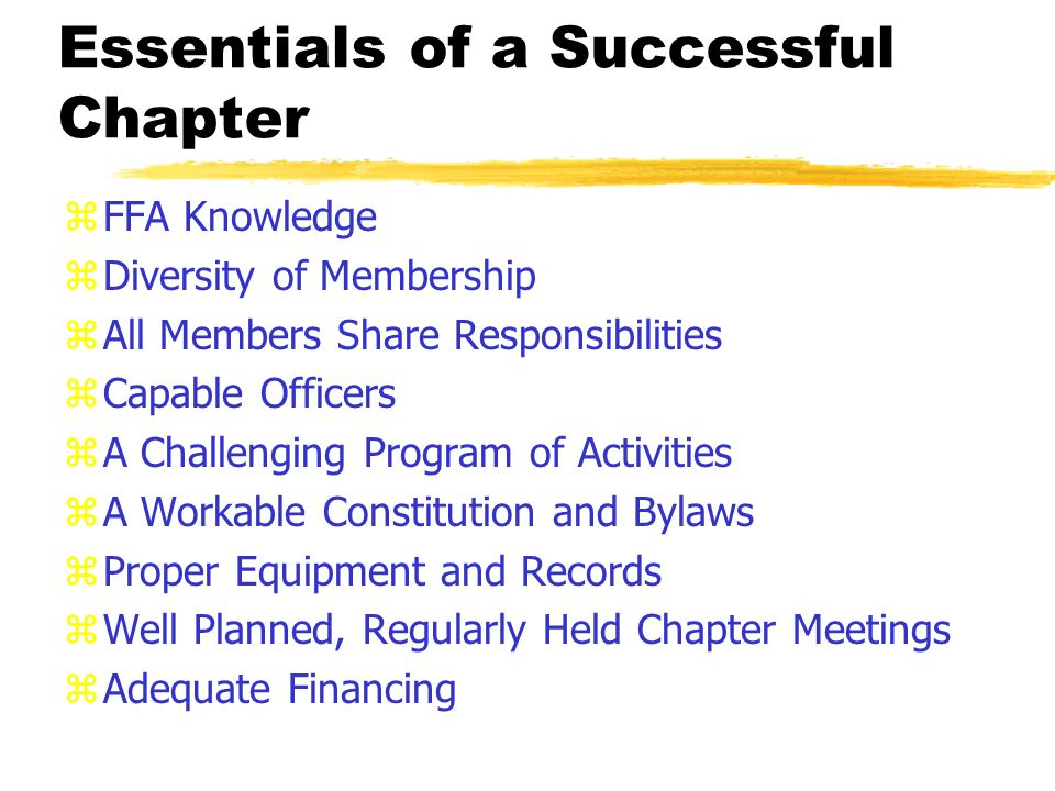 Chapter Operations Official Ffa Ceremonies 2 Essentials Of A Successful