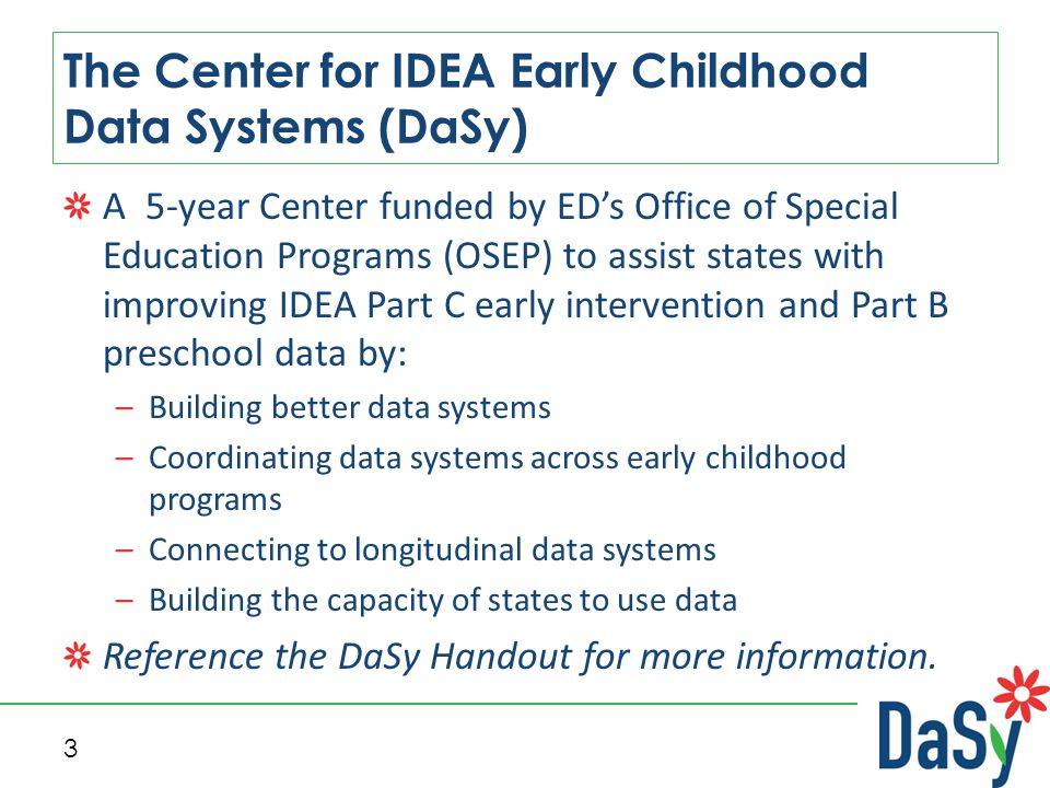 The Center for IDEA Early Childhood Data Systems Benefits