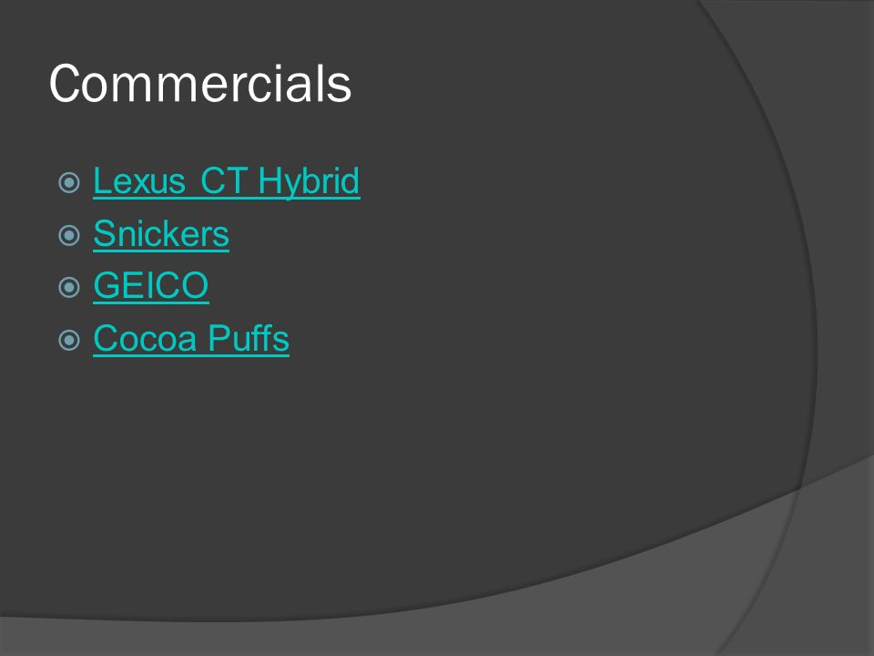 2 Commercials Lexus Ct Hybrid Snickers Geico Cocoa Puffs