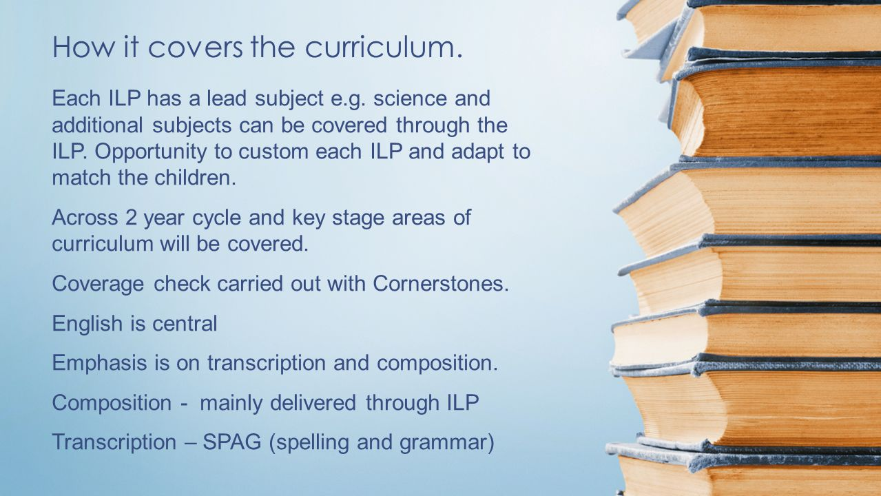 How it covers the curriculum. Each ILP has a lead subject e.g.