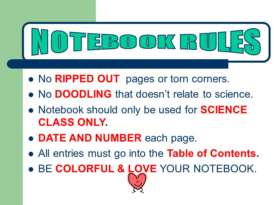 No RIPPED OUT pages or torn corners. No DOODLING that doesn't relate to science.