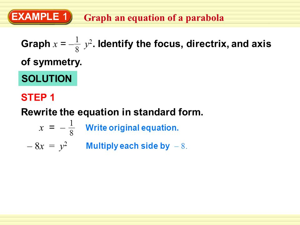EXAMPLE 1 Graph an equation of a parabola SOLUTION STEP 1 Rewrite the equation in standard form.