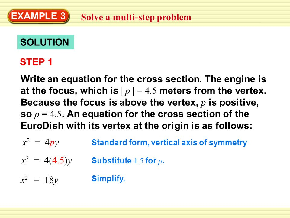 EXAMPLE 3 Solve a multi-step problem SOLUTION STEP 1 Write an equation for the cross section.