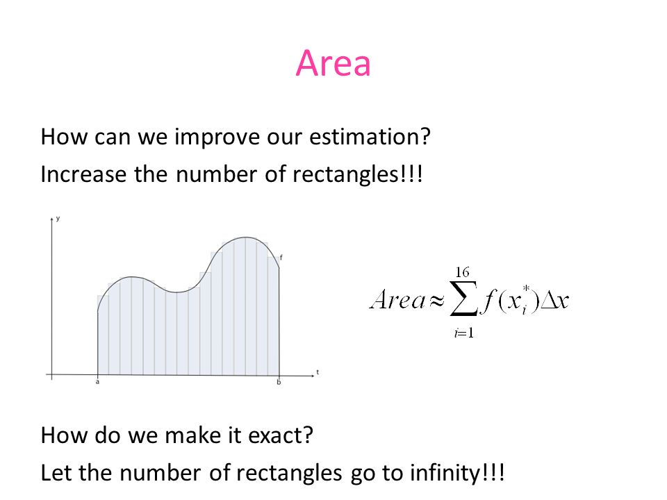 Area How can we improve our estimation. Increase the number of rectangles!!.